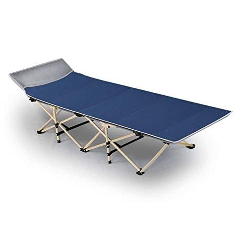 Ligero Cama de Camping Plegable Cama plegable, cama individual plegable, cama plegable portátil Oficina cama litera Siesta Bed fácil de llevar Siesta Bed Reforzado solo suave cama ( Color : Blue )