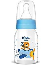 Wee Baby Natural szklana butelka dla niemowląt 125 ml | niebieska, chłopięca Fly Tiger | ze szkła | butelka do picia z przyssawką rozm. 1, butelka na mleko szklana (1)