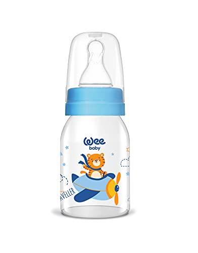 Wee Baby Natural - Botella de cristal para bebé (125 ml), color azul, diseño de tigre