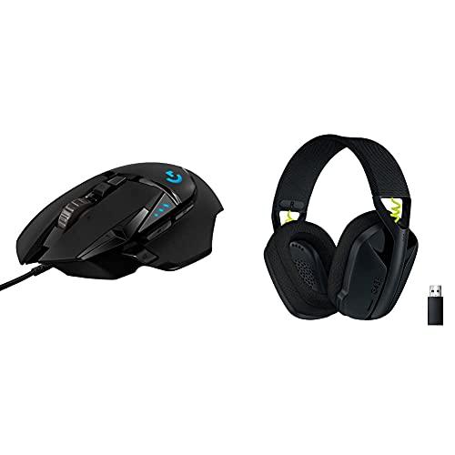 Logitech G502 Hero Souris Gamer Filaire Haute Performance, Noire, with G435 Lightspeed et Bluetooth sans Fil Casque Gaming, Noir