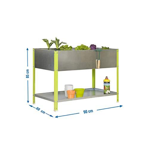 SimonRack G07100220290602 - Huerto urbano, 140 l, 85 x 90 x 60 cm, color verde/galvanizado
