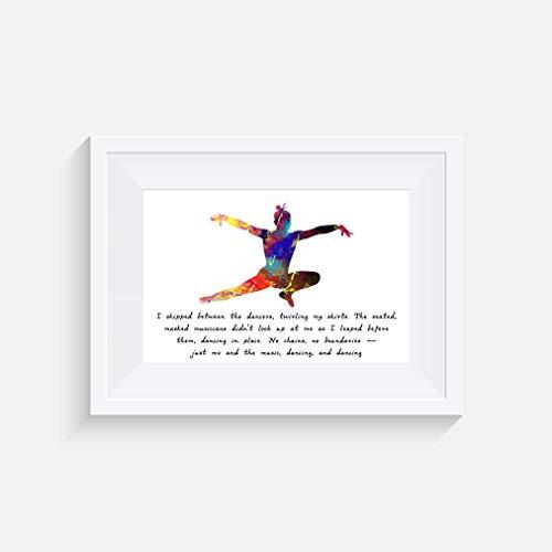 I skipped between the dancers - Tanzen - inspirierte Aquarell Zitat Poster Print - Poster in verschiedenen Größen (Rahmen nicht enthalten)