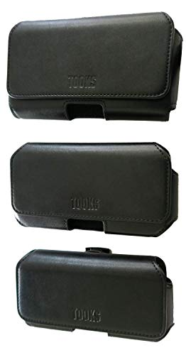 TOOKS Premium Leather Cell Phone Holster w/ 360 Swivel Belt Clip | Fine Felt Protective Lining | Multiple Case Sizes with Additional Adjustment Tabs (XL)