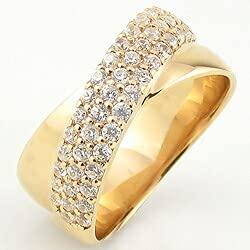 [ジュエリーアイ]Jewelry i 指輪 10金 ダイヤモンドリング パヴェ クロス イエローゴールドK10 ピンキーリング ギフト 6号