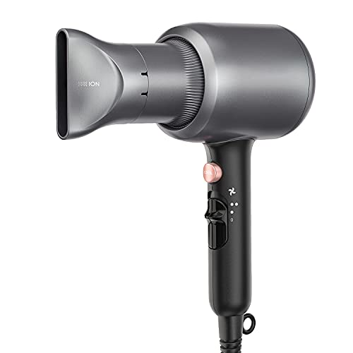 Secador de pelo profesional, secador de pelo iónico de 2200 W, potente secador de pelo de salón para secado rápido, con concentrador, 2 velocidades y 3 temperaturas, gris