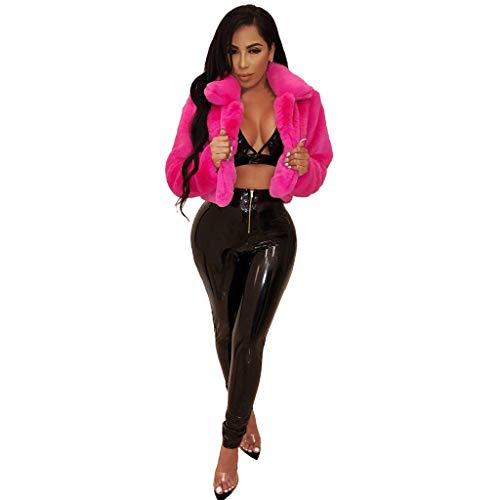 Janly Clearance Sale Abrigos de invierno para mujer, abrigo de forro polar con cuello vuelto de piel sintética superior corto suelto, ropa exterior para mujer (rosa caliente-S)