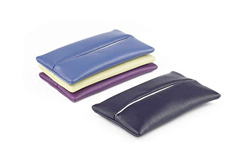 「Thing.Is」PU Leather Pocket Tissue Holder for Purse, Travel Tissue Cover, Travel Tissue Holder, Kleenex On-the-Go Tissue Case, Tissue Pouch, Blue/Yellow/Purple