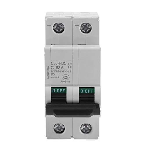 JF-Xuan Kreisunterbrecher, 250V DC RCD-Stecker-Adapter Leckschutzschalter, Sicherheits RCD-Buchse Adapter-Leistungsschalter Solarenergie Schalter 16A / 32A / 63A (63A)