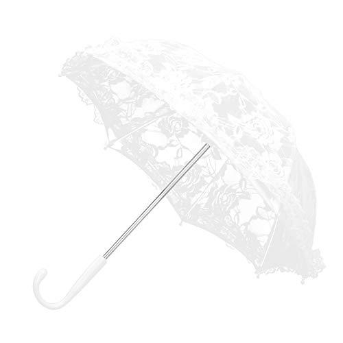 Toppin - Sombrilla de encaje blanco para boda, diseño vintage con flores bordadas, decoración romántica para novia, accesorio para disfraz de señora (color blanqueado)