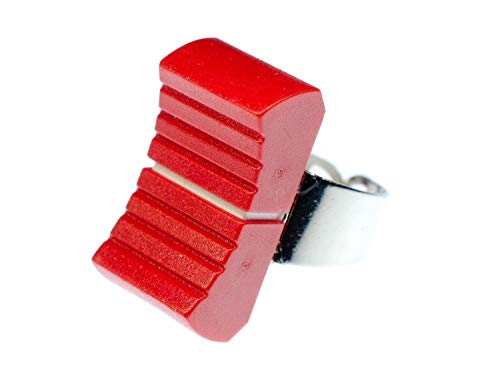Miniblings Fader Ring - I Regler DJ Tontechniker Technik Mischpult Mixer rot - Handmade Modeschmuck I Fingerring mit Motiv I verstellbar one Size