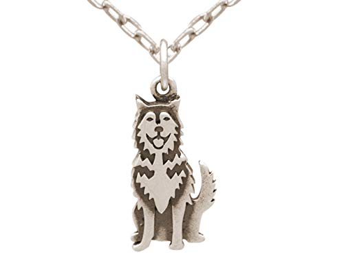 Gemshine Halskette Siberian Husky - Alaskan Malamute Schlitten Hund Anhänger. 925 Silber, vergoldet oder rose. Für Haustier Herrchen, Frauchen - Made in Spain, Metall Farbe:Silber