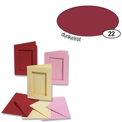 Passepartoutkarten und Umschl. 'rechteckig', dun.rot