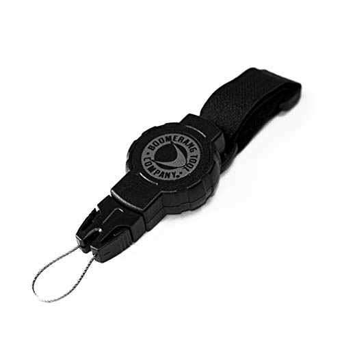 """Boomerang Small Scuba Gear Retractor with Hook & Loop Strap and 24"""" Retractable Cord, 4oz. Retraction, Great for Gauges, Flashlights, Cameras and More, Black, Small (24"""" / 4 oz.)"""