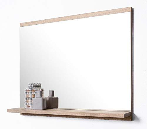 DOMTECH Badspiegel mit Ablage, Eiche Sonoma, Badezimmer Spiegel, Wandspiegel, Badezimmerspiegel