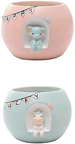 Pacote de 2 Elefante e Unicórnio Criativo Animal Suculento Vaso de Flores Resina Plantador Suculento Mesa Mini Ornamento de Vaso de Plantas