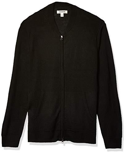 Goodthreads Merino Wool Bomber Sweater Pullover, Schwarz, M