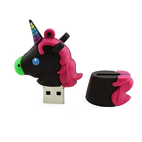 Angela Chiavetta USB 2.0 da 64 GB, Design Creativo a Forma di Unicorno per Cartoni Animati, Regalo di memorizzazione Dati con Disco a Forma di Pollice Carino con Memoria U, Adatto per L'Ufficio,Black
