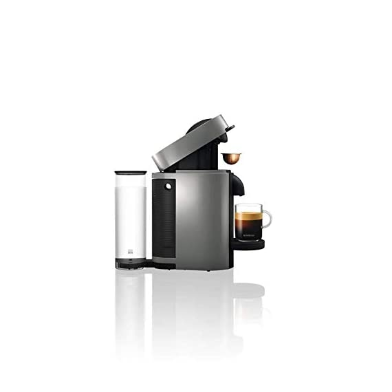 Nespresso VertuoPlus Coffee and Espresso Maker Bundle with Aeroccino Milk Frother by De'Longhi Red 3 Versatile automatic Coffee maker: brew different single-serve coffee cup sizes at the touch of a button depending on your coffee needs - Espresso (1. 35 oz. ), double Espresso (2. 7 oz. ), Gran Lungo (5 oz. ), Coffee (7. 7 oz. ) and alto (14 oz. ). Pour over ice to create your favorite Iced Coffee drinks. Designed for use with Espresso Vertuo capsules Smart Coffee maker: brew the perfect single-serve coffee or Espresso drink time after time, thanks to espresso's Centrifusion (TM) technology using barcodes to deliver the best in-cup results including the perfect crema for large Coffee cup sizes. Simply insert the capsule and enjoy freshly brewed Coffee or authentic Espresso. Single serve Coffee machine: have the ability to create Barista grade brewed single-serve coffee or Espresso cups at the touch of a single button. The one-touch button mechanism delivers the best in-cup result for whatever style coffee or Espresso drink you choose. Designed for use with Espresso Vertuo capsules only.