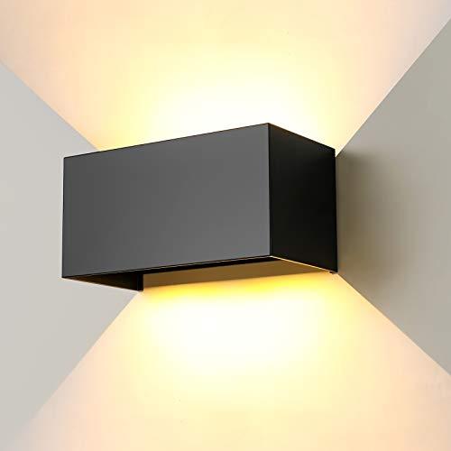 ENCOFT 24W Lámpara de Pared COB LED Exterior Interior Moderno, Aplique Pared Ángulo de Luz Ajustable en Aluminio, Apliques de Exterior Impermeable IP65, Blanco Cálido 3000K 2400LM, Negro