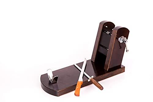 Jamonero modelo Rioja color tabaco, soporte jamonero mas regalo cuchillo jamonero y chaira de madera