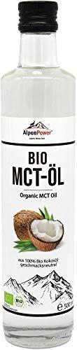 AlpenPower BIO MCT Öl (C8 & C10) in 500 ml Glasflasche I aus 100% Bio-Kokosöl geschmacksneutral I für Bulletproof-Coffee und ketogene Ernährung I Vegan & Paleo