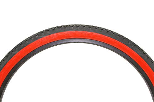BICYCLE DURO TIRE IN 26 X 2.125 RED//WHITE SIDE IN DIAMOND DRIZZLE TREAD. NEW