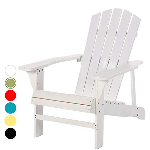 Adirondack Chair Oversized Wood Recliner, Classic Outdoor Balcony Beach Heavy Lawn Patio Chair, 220-Pound Capacity (Color : White)