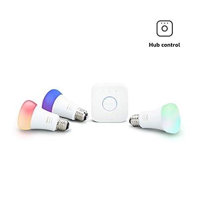 Philips Hue LED Smart Light Bulb Starter Kit, 3 A19 Smart Bulbs & 1 Hue Hub (Works with Alexa, Apple HomeKit & Google Assistant)