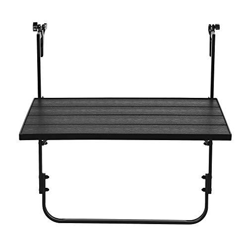Gartentisch Alice Balkontisch Polywood Hängetisch Klapptisch Tisch schwarz
