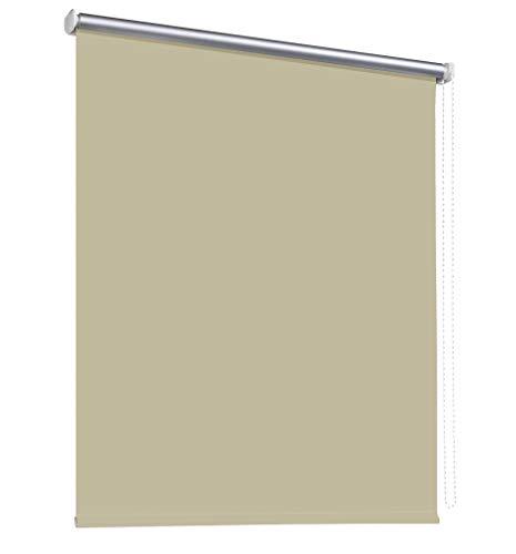 deko-raumshop Thermorollo Verdunkelungsrollo Hitzeschutz Seitenzugrollo Fenster Rollo 11 Farben Breite 60 bis 240 cm Stoff lichtundurchlässig Thermo Beschichtung Weiß Silber (60 x 175 cm/Beige)