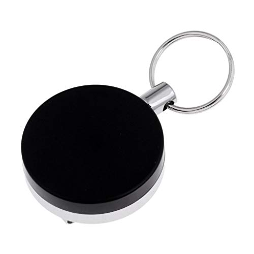 HomeDecTime Telescópico Llavero Carrete Porta Insignia Anillo de Retroceso de Acero Clip de Cinturón Negro