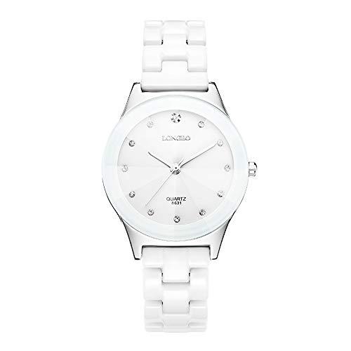 Unisexuhren Minimalismus Strass Skala Quarz Armbanduhren für Herren Damen Weiß Keramikband 37mm...