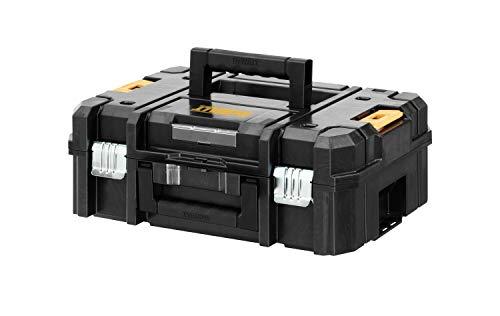 DeWalt Tstak II Transportbox / stabelbare Werkzeugbox (kombinierbar mit anderen Tstak-Boxen, sichere Verwahrung von Elektrowerkzeugen und Handwerkzeugen), DWST1-70703