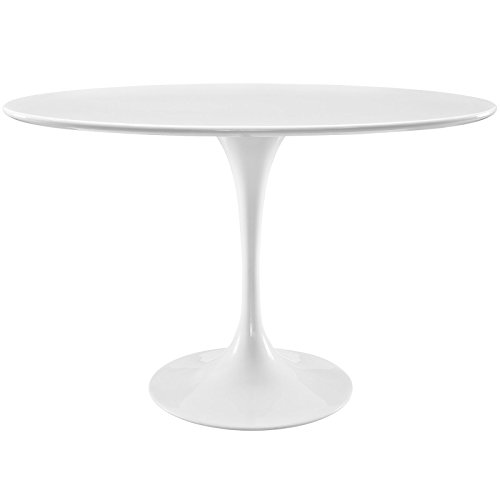 "Modway Lippa 48"" Mid-Century Modern Dining Table with Oval Top and Pedestal Base in White"