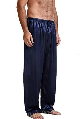 LEYUANA Pantalones de satn para Hombre Pantalones de Dormir Talla S-XL Plus M Azul