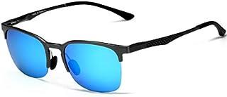 نظارات شمسية للجنسين بتصميم كلاسيكي نصف إطار من ألياف الكربون الاستقطالية، زرقاء