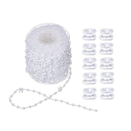 ExeQianming Chaîne de store vertical de 10 m avec 10 connecteurs de chaîne en plastique pour lattes de 89 mm