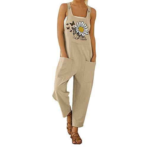 Macacão feminino de verão floral Boho solto suspensório harém calça Boho com botões e bolsos, Caqui, M