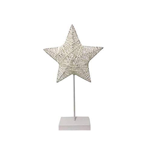 Xiton - Lámpara LED de noche con forma de corazón de ratán y estrella, para escritorio, para dormitorio, sala de estar, decoración del hogar