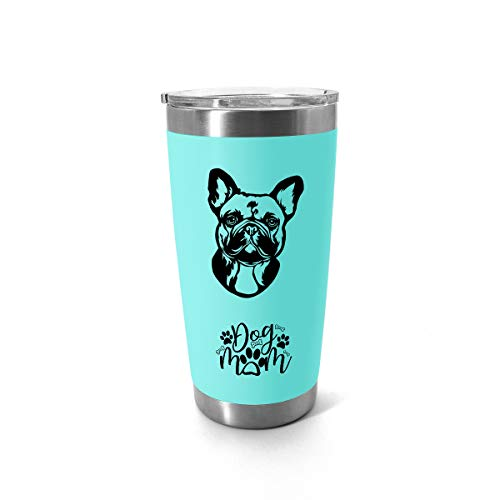 French Bulldog Gifts For Women - 20oz - Tumbler With Stainless Steel Straw And Sealed Lid - Teal - A Gift For French Bulldog Dog Mom Lovers