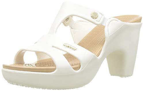 Crocs Cyprs V Heel W, Scarpe col Tacco Punta Aperta Donna, Bianco (Oyster/Gold 13s), 36 EU