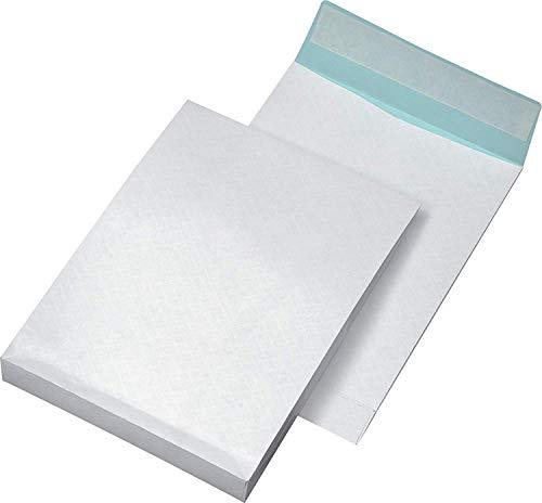 Faltentaschen C4 fadenverstärkt, ohne Fenster, mit 40 mm-Falte und Klotzboden, 140 g/qm, weiß, 100 Stück Ohne Fenster. 140 g/qm, weiß/blau. In das Papier sind Nylonfäden eingearbeitet zur Stabilisierung und Gewährleistung der Reißfestigkeit. Haftklebend - extreme Klebekraft durch Hotmelt-Klebung.