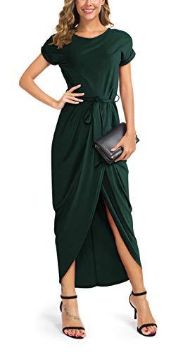 GRECERELLE Women's High Low Irregular Hem Slit Front Casual Fit Maxi Dress with Belt Dark Green-L