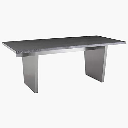Steel Rustic Dining Table - Dining Table with Wood Top - Oxidized Gray