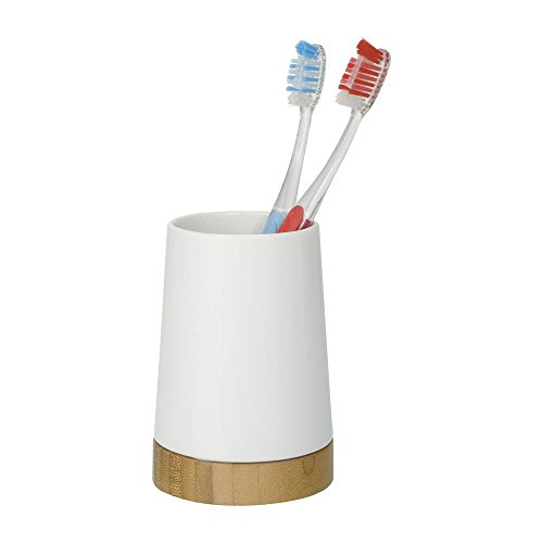 Wenko 17675100 Bamboo - Vaso de cerámica para cepillos de Dientes (8,5 x 11,6 cm), Color Blanco