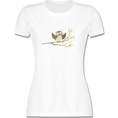 Vögel - kleine Eule - XXL - Weiß - eulen Shirt - L191 - Tailliertes Tshirt für Damen und Frauen T-Shirt