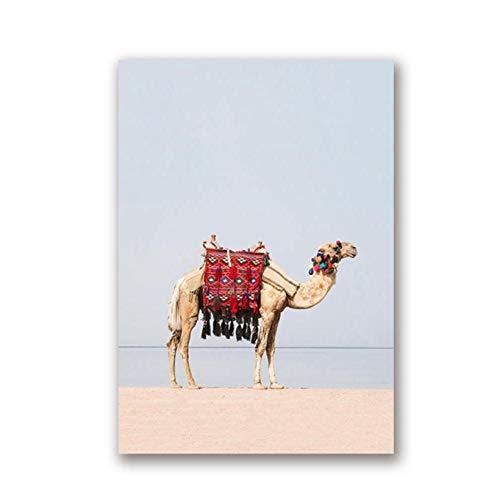 kaxiou woestijn dier kameel canvas kunstdruk en poster kameel boho kinderkamer muurkunst schilderij schilderij schilderij Marokkaans Dubai modern Home Decor-50X70cm geen lijst