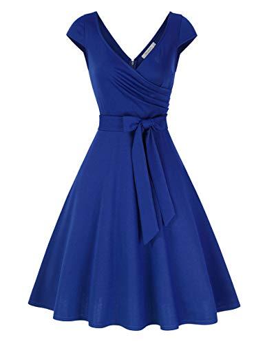 KOJOOIN Damen Vintage 50er V-Ausschnitt Abendkleid Rockabilly Retro Kleider Hepburn Stil Cocktailkleid Royalblau 【EU 38-40】/M