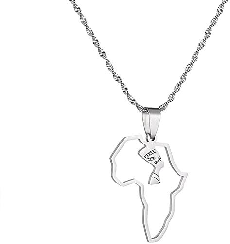 Collar con colgante de reina egipcia Nefertiti de acero inoxidable, mapa étnico africano, joyería de cadena de África