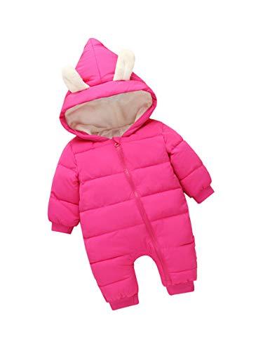 Enfants Hiver Combinaison de Ski Hoodie Barboteuse - Kids Manche Longue Coton Outerwear Filles Mignonne Doudoune (80cm Rosy)